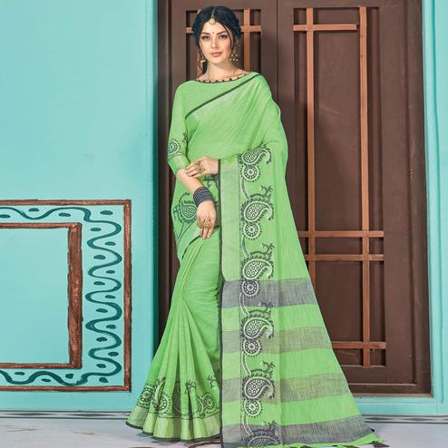 Blooming Green Colored Partywear Printed Linen Cotton Saree