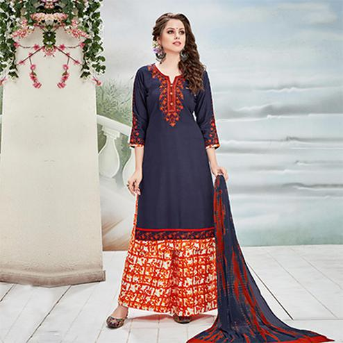 Dazzling Blue Designer Embroidered Rayon Palazzo Suit