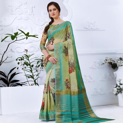 Blissful Green Colored Partywear Digital Printed Cotton Silk Saree
