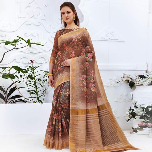 Ideal Brown Colored Partywear Digital Printed Cotton Silk Saree