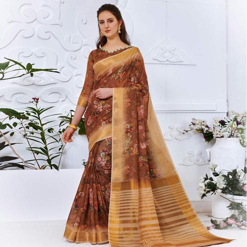 Lovely Brown Colored Partywear Digital Printed Cotton Silk Saree