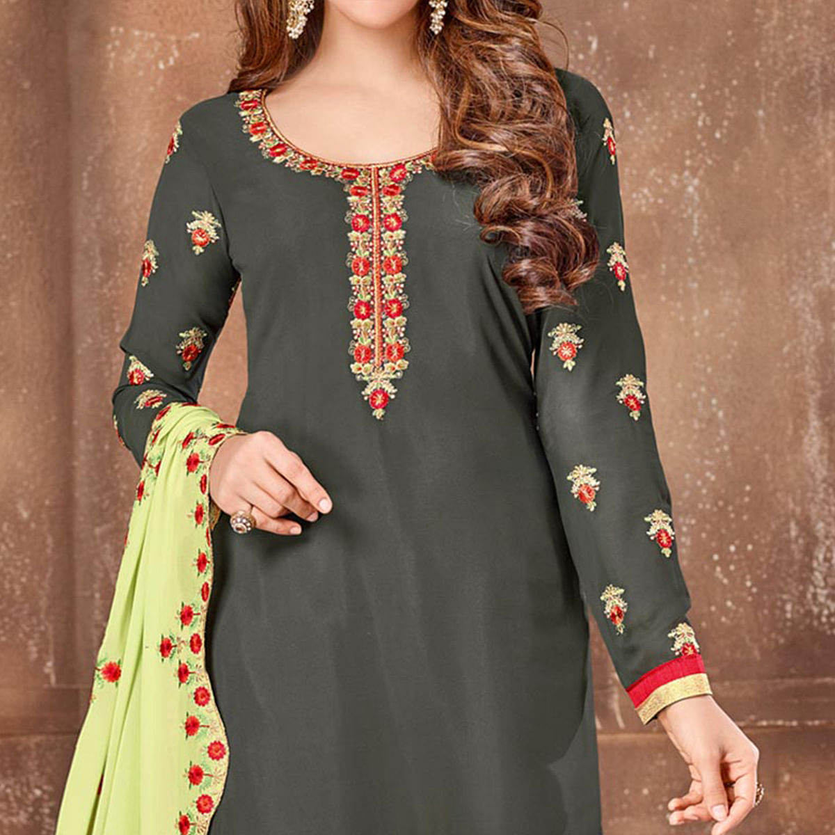 Stone Grey Georgette Straight Cut Suit