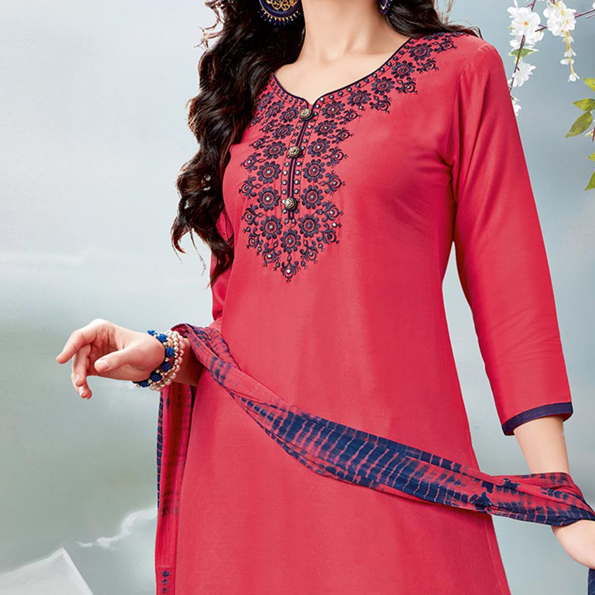 Gorgeous Pink Designer Embroidered Rayon Palazzo Suit
