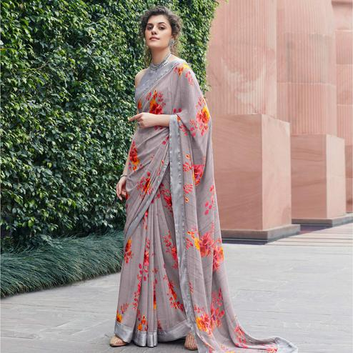 Trendy Light Purple Colored Partywear Floral Printed Satin Saree