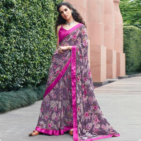 Elegant Purple Colored Partywear Floral Printed Satin Saree