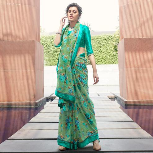 Radiant Green Colored Partywear Floral Printed Satin Saree