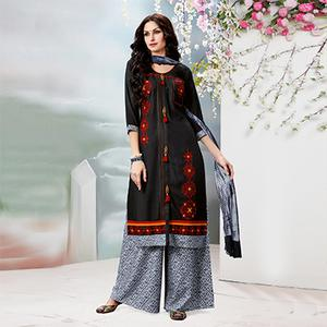 Stunning Black Designer Embroidered Rayon Palazzo Suit