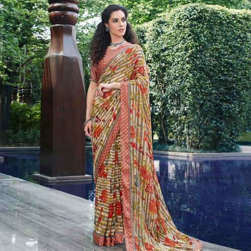 Pleasant Cream Colored Partywear Floral Printed Satin Saree