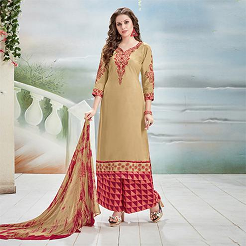Desirable Beige Designer Embroidered Rayon Palazzo Suit