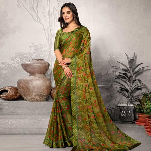 Marvellous Green Colored Partywear Printed Chiffon Saree