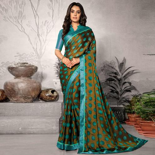 Pretty Mehendi Green Colored Partywear Printed Chiffon Saree