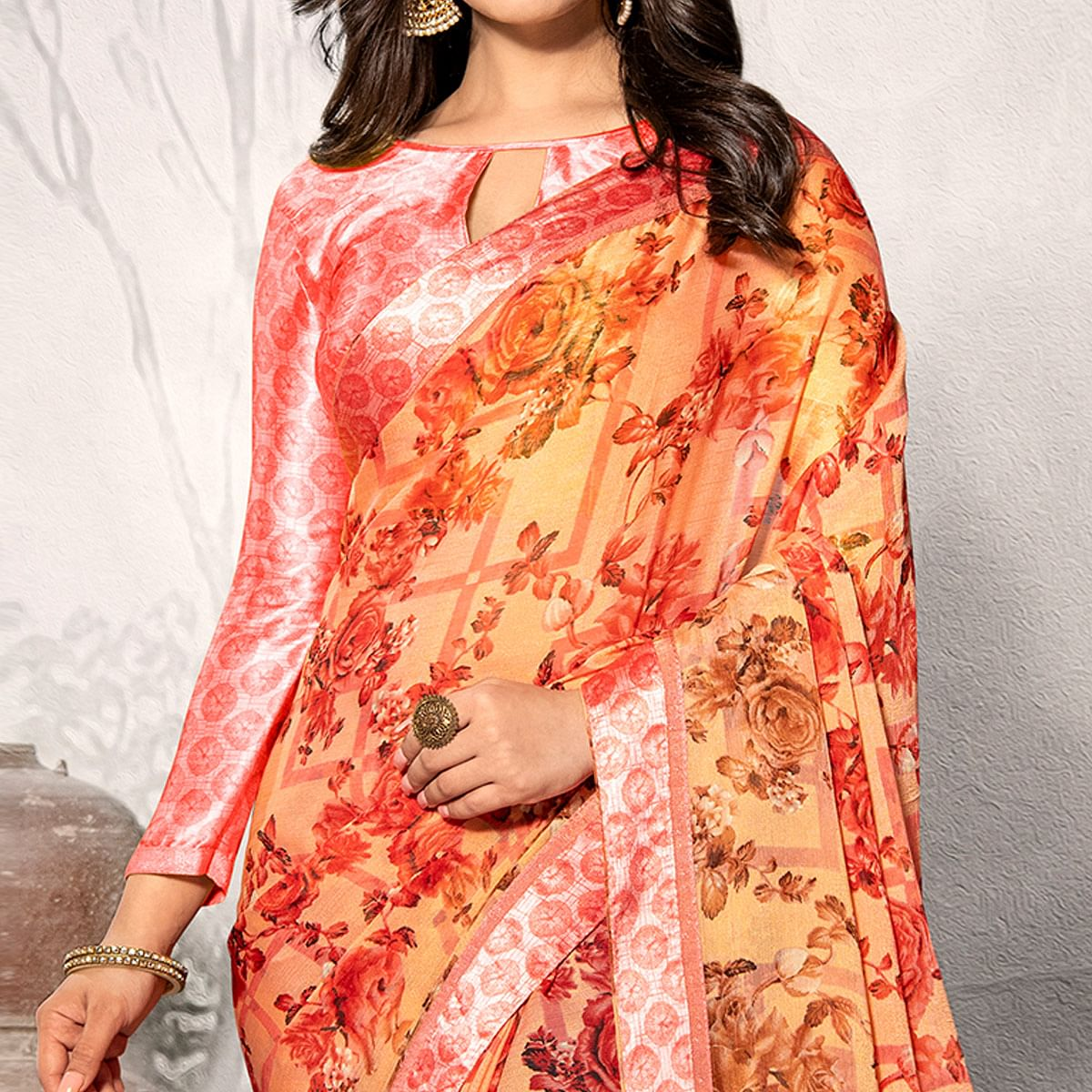 Alluring Peach - Red Colored Partywear Printed Chiffon Saree