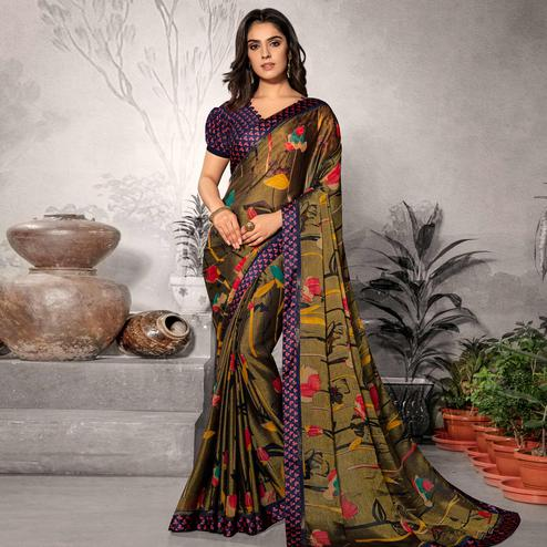 Sensational Mehendi Green Colored Partywear Printed Chiffon Saree