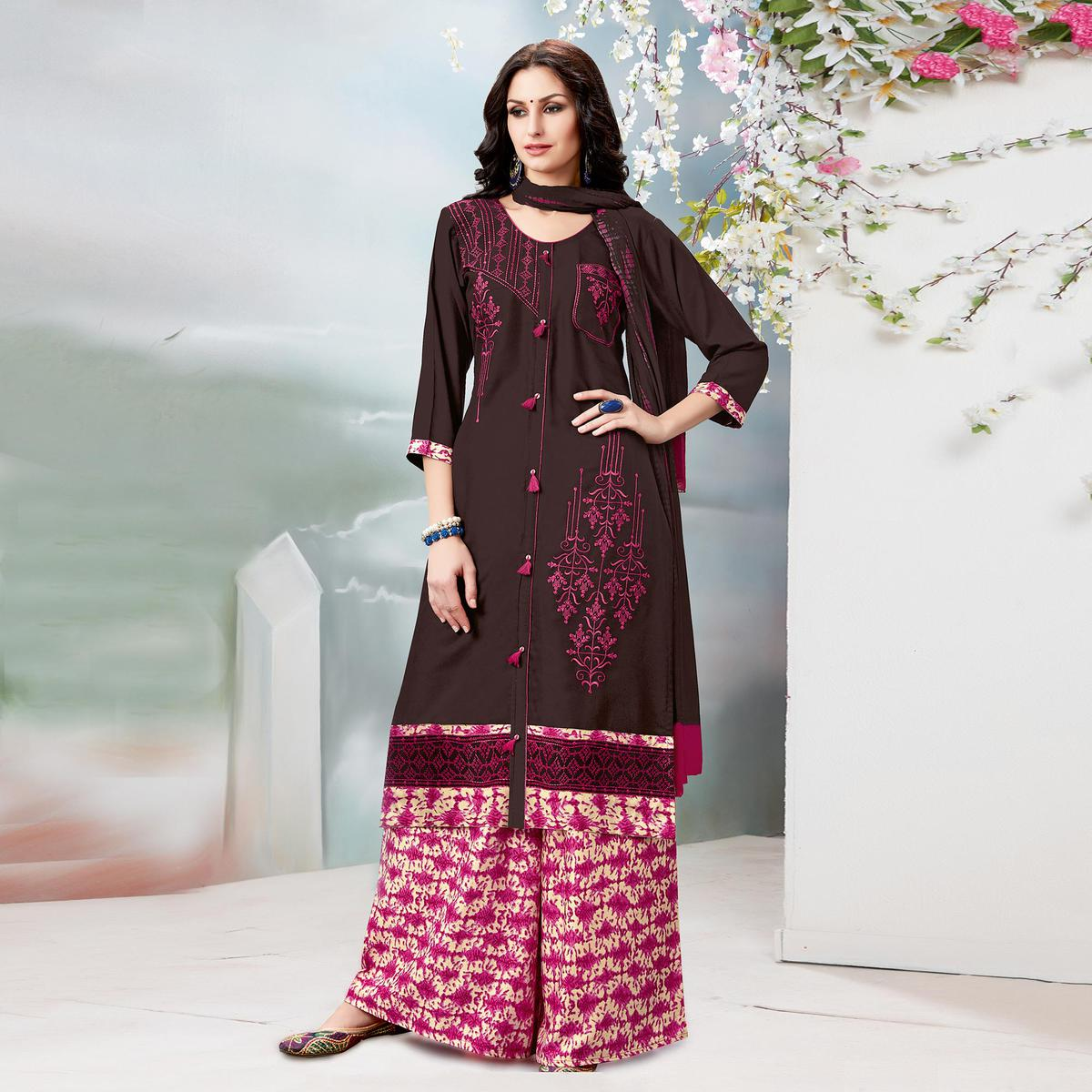 Classy Brown Designer Embroidered Rayon Palazzo Suit