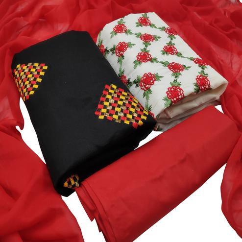 Capricious Red Colored Partywear Embroidered Dual Top Cotton Dress Material