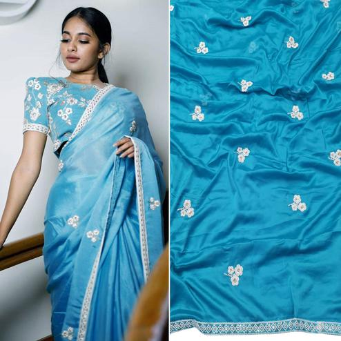 Entrancing Sky Blue Colored Partywear Embroidered Pure Heavy Rangoli Saree