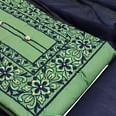 Attractive Green Colored Casual Wear Embroidered Cotton Dress Material