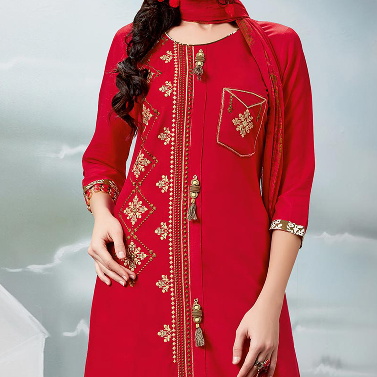 Hot Red Designer Embroidered Rayon Palazzo Suit