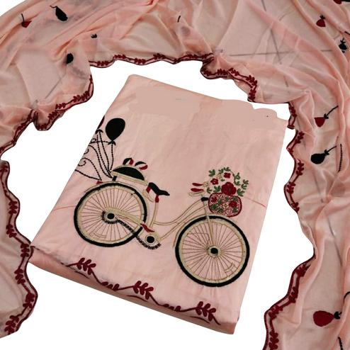 Delightful Pink Colored Partywear Embroidered Cotton Dress Material
