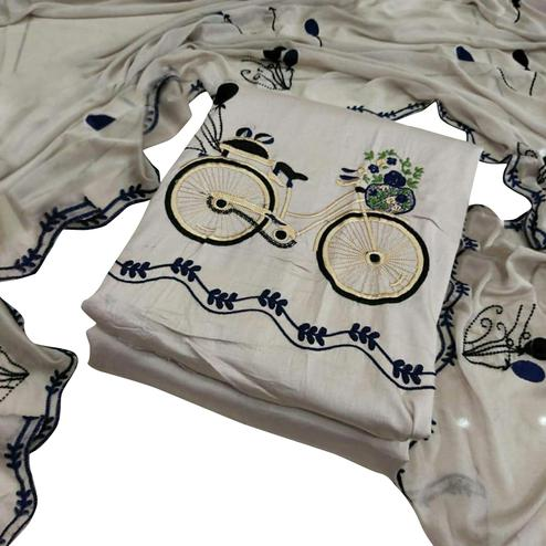 Engrossing White Colored Partywear Embroidered Cotton Dress Material