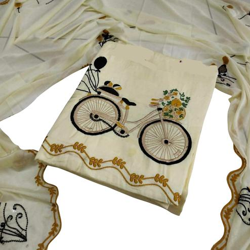 Captivating Yellow Colored Partywear Embroidered Cotton Dress Material