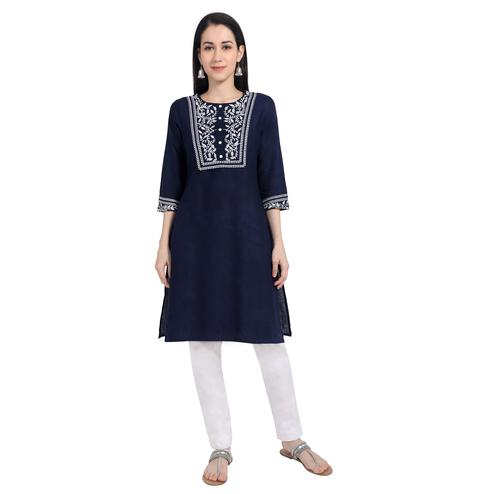 Adorning Navy Blue Colored Casual Wear Embroidered Cotton Kurti