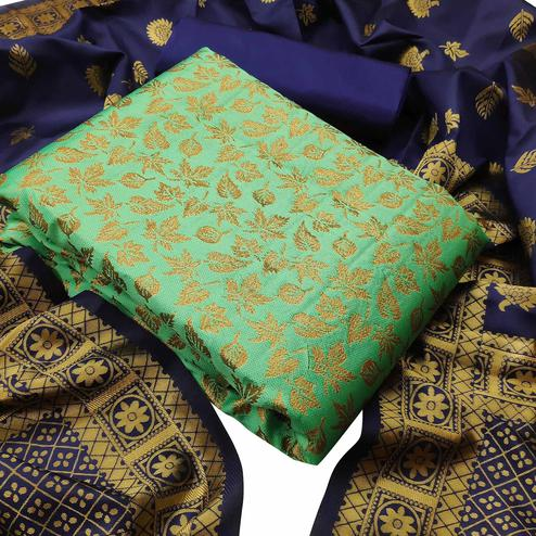 IRIS - Light Green Colored Festive Wear Banarasi Jacquard Dress Material