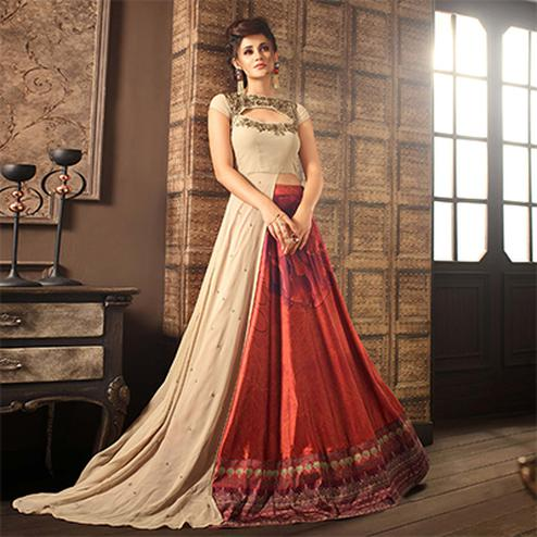 Beautiful Beige-Red Designer Partywear Digital Printed Viscose Georgette & Spanish Silk Lehenga