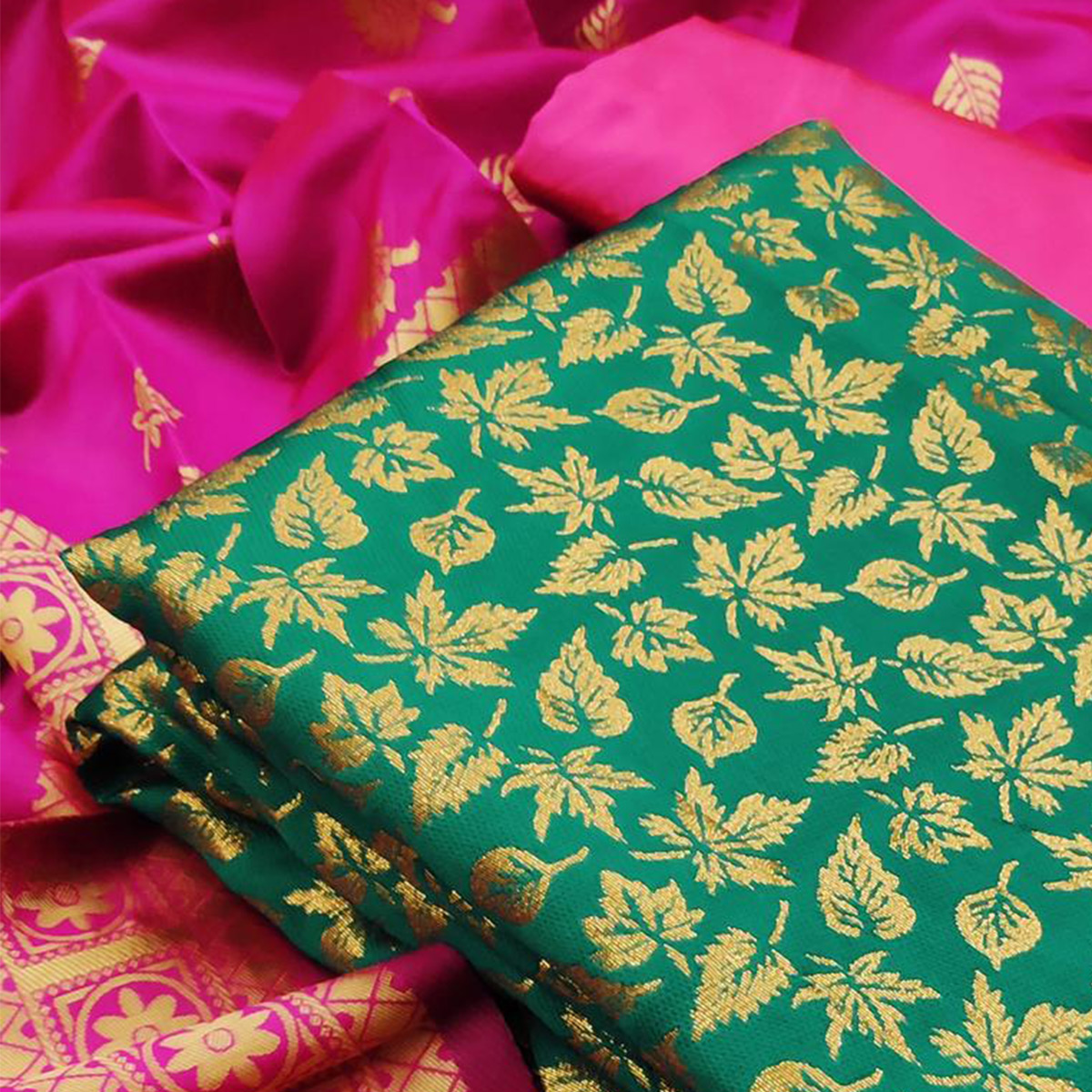 IRIS - Green Colored Festive Wear Banarasi Jacquard Dress Material