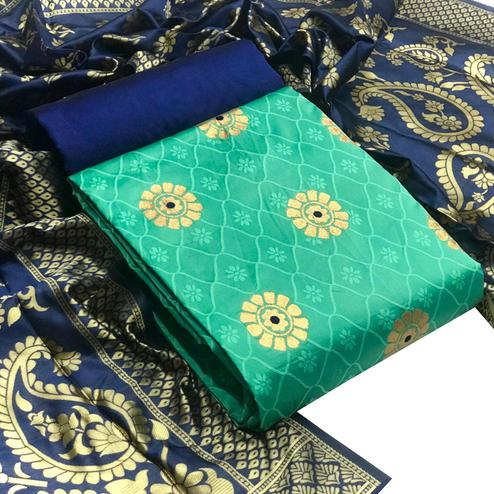 IRIS - Rama Green Colored Festive Wear Banarasi Jacquard Dress Material