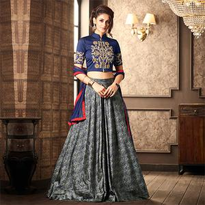 Gorgeous Navy Blue-Gray Designer Partywear Digital Printed Silk Lehenga