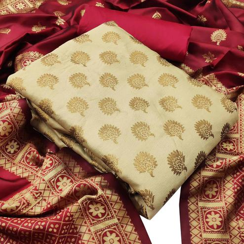 IRIS - Cream Colored Festive Wear Banarasi Jacquard Dress Material