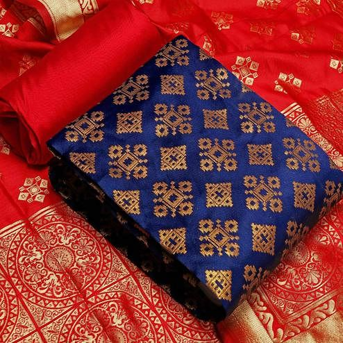 IRIS - Blue Colored Festive Wear Banarasi Jacquard Dress Material