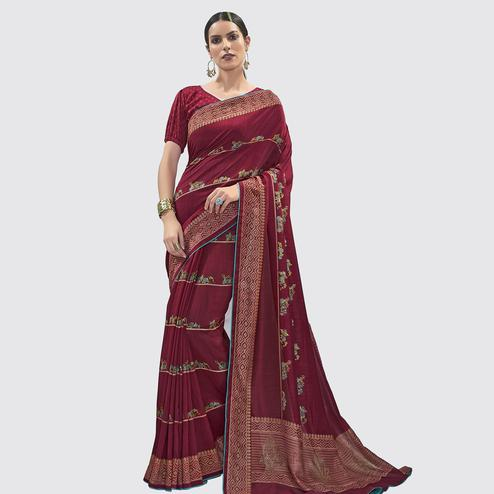 Groovy Red Colored Casual Wear Floral Printed Chanderi Silk Saree
