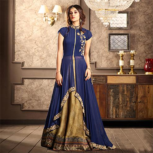 Glamorous Blue Designer Partywear Digital Printed Viscose Georgette & Spanish Silk Lehenga