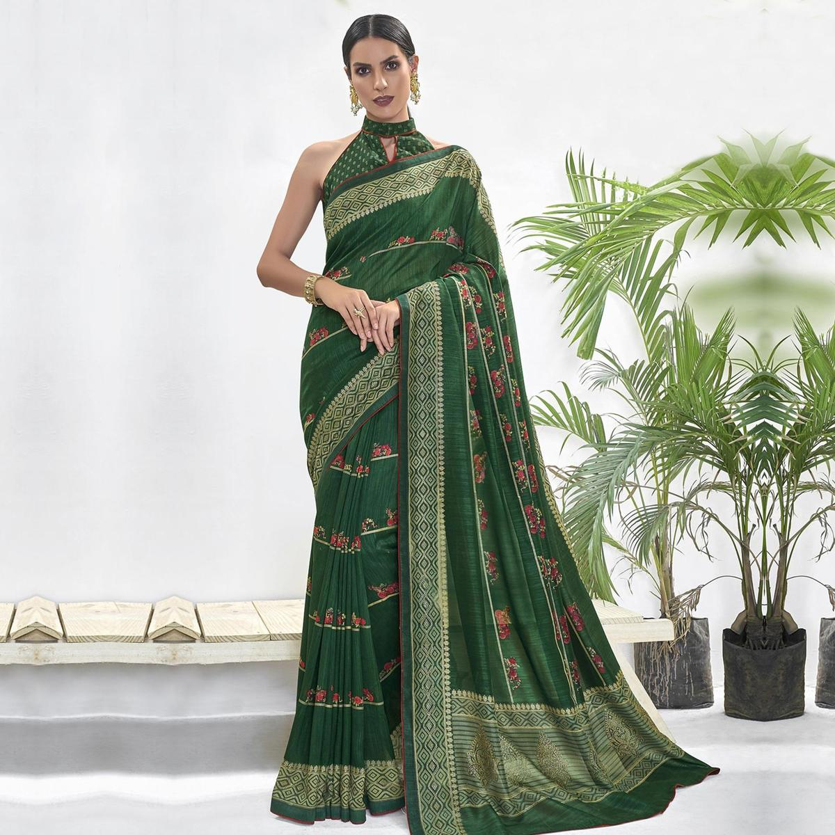 Prominent Green Colored Casual Wear Floral Printed Chanderi Silk Saree