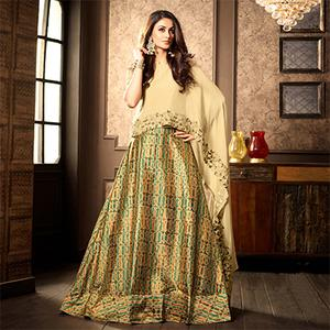 Graceful Beige Designer Partywear Digital Printed Viscose Georgette & Spanish Silk Lehenga