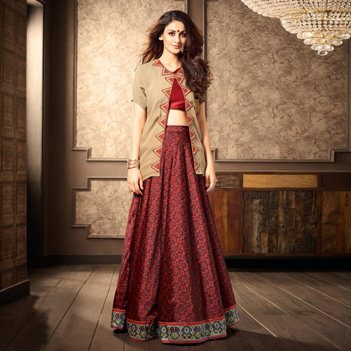 Stylish Beige-Red Designer Partywear Digital Printed Viscose Georgette & Spanish Silk Lehenga