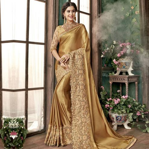 Blissful Gold Colored Party Wear Embroidered Georgette Saree