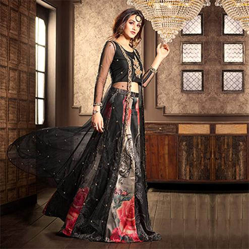 Attractive Black Designer Partywear Digital Printed Viscose Georgette & Spanish Silk Lehenga