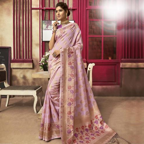 Trendy Purple Colored Festive Wear Woven Jacquard Silk Saree With Tassels
