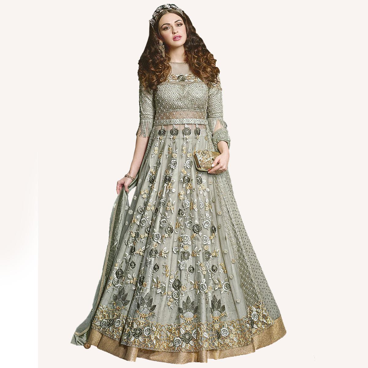 Gorgeous Dusty Green Designer Embroidered Net Lehenga Kameez