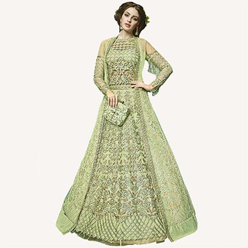 Glorious Green Designer Embroidered Net Lehenga Kameez