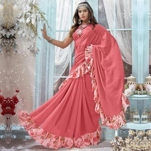 Prominent Pink Colored Casual Wear Frill Border Chiffon Saree