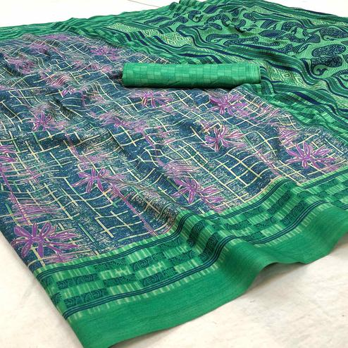 Attractive Green Colored Casual Wear Printed Silk Blend Saree