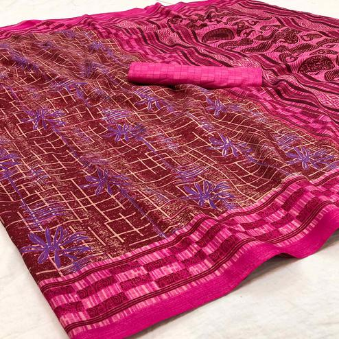 Beautiful Pink Colored Casual Wear Printed Silk Blend Saree