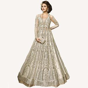 Elegant Off-White Designer Embroidered Net Lehenga Kameez