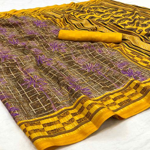 Graceful Yellow Colored Casual Wear Printed Silk Blend Saree