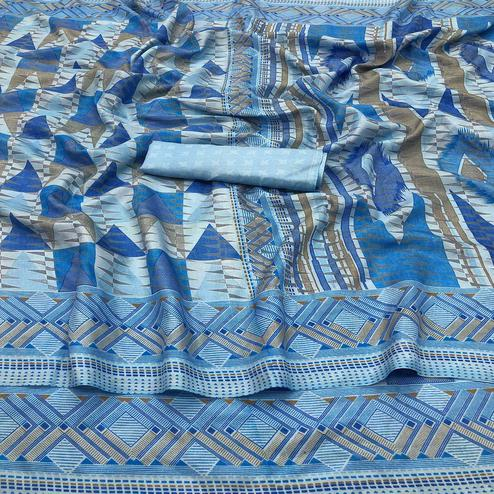 Charming Blue Colored Casual Wear Printed Silk Saree