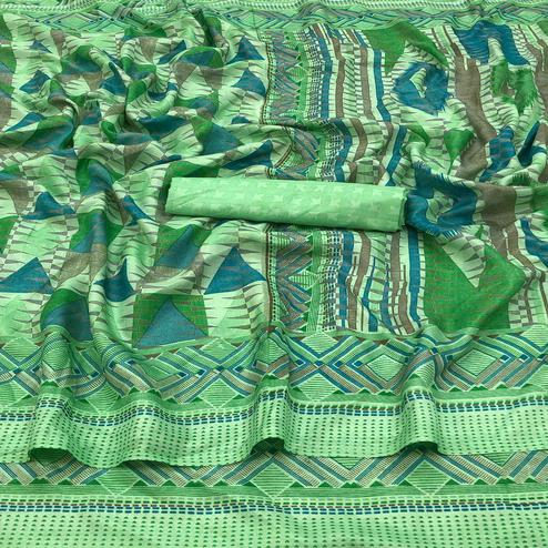 Jazzy Green Colored Casual Wear Printed Silk Saree